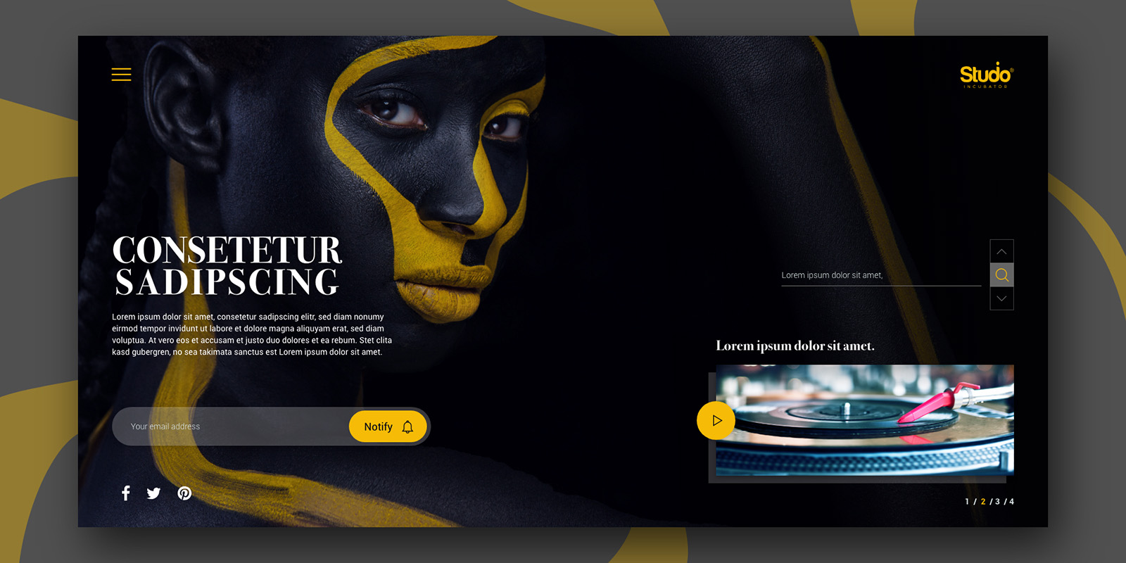 Studio Incubator – User Interface sample under website's gallery